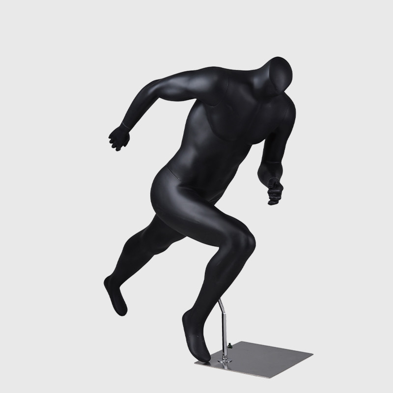 Headless mannequin male sport muscle black mannequin men