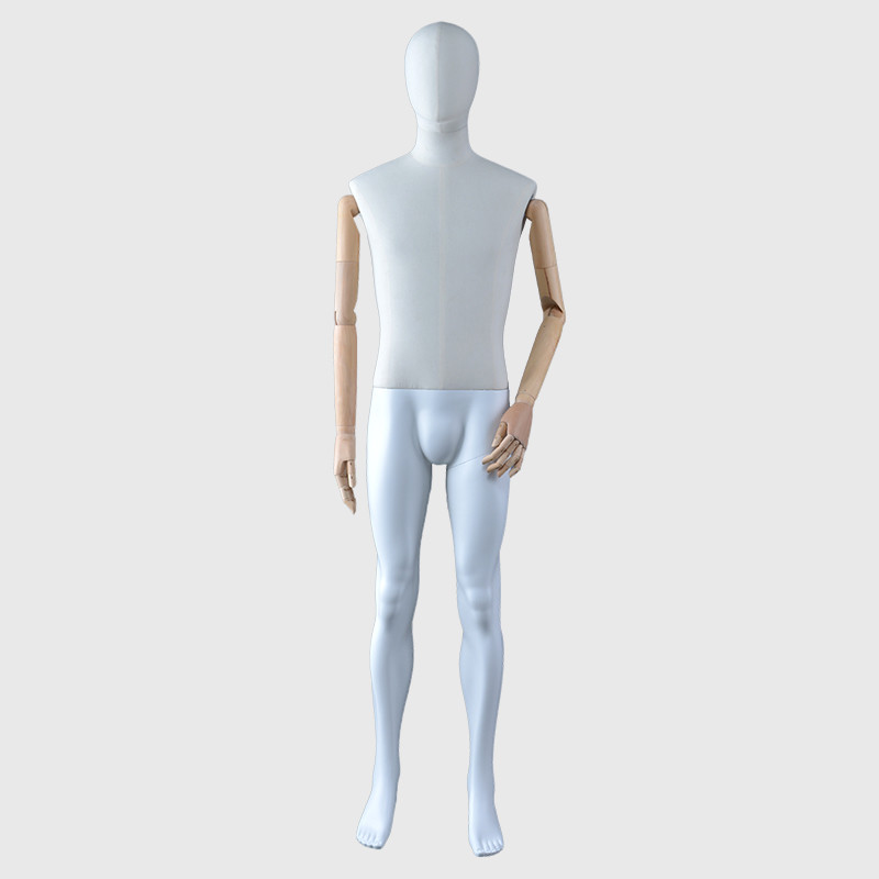 Egg head male mannequin fabric wrapped clothing display mannequin