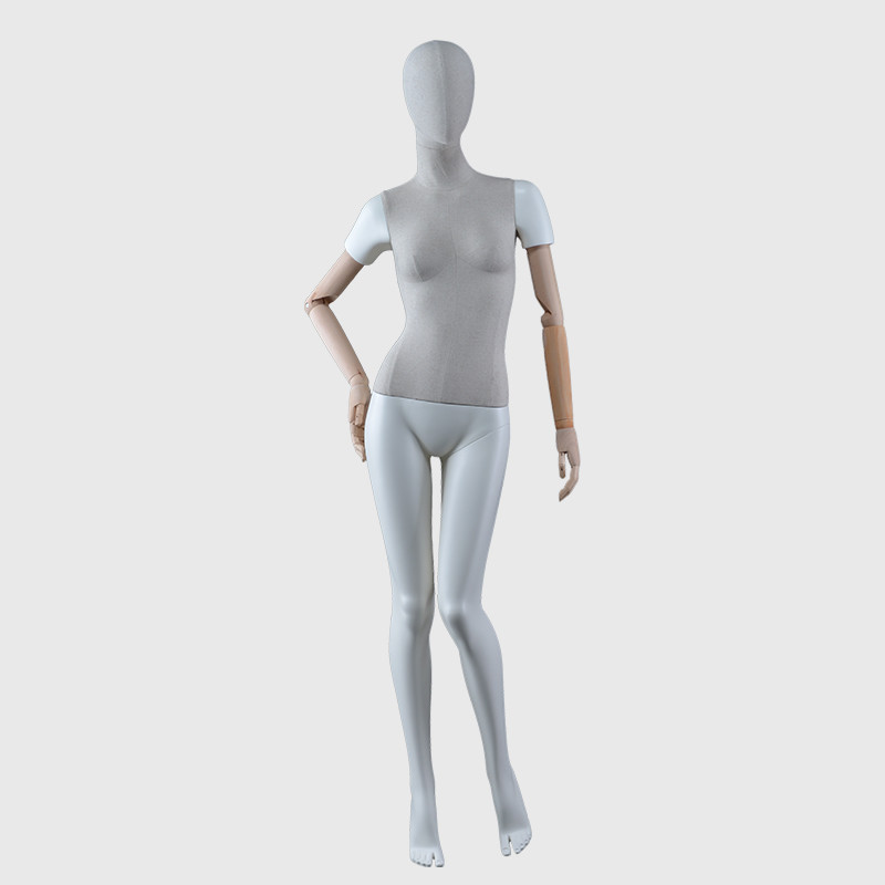 Female fabric mannequin dress mannequin with wooden arms