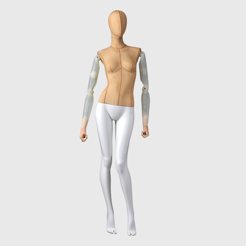 Full body female dress mannequin with fiberglass arms