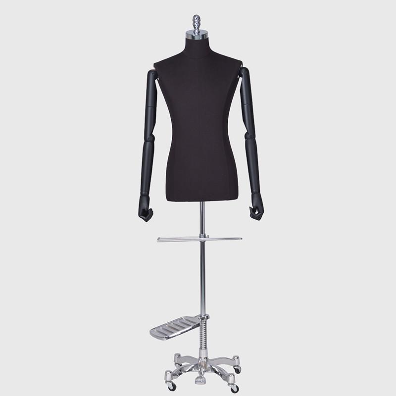 Hlaf body fabric mannequin male black dress form