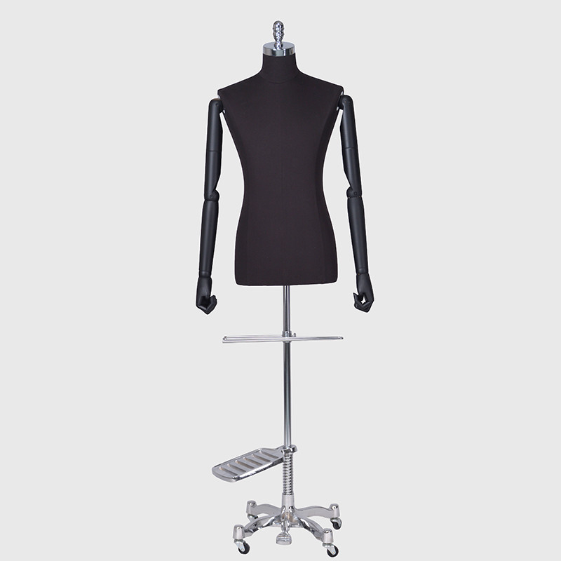 Hlaf body fabric mannequin male black dress form