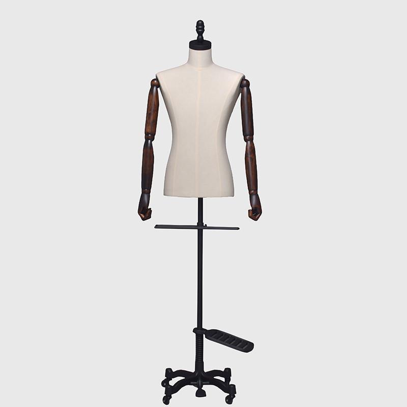 Custom linen male dress form mannequins torso male body wood arms