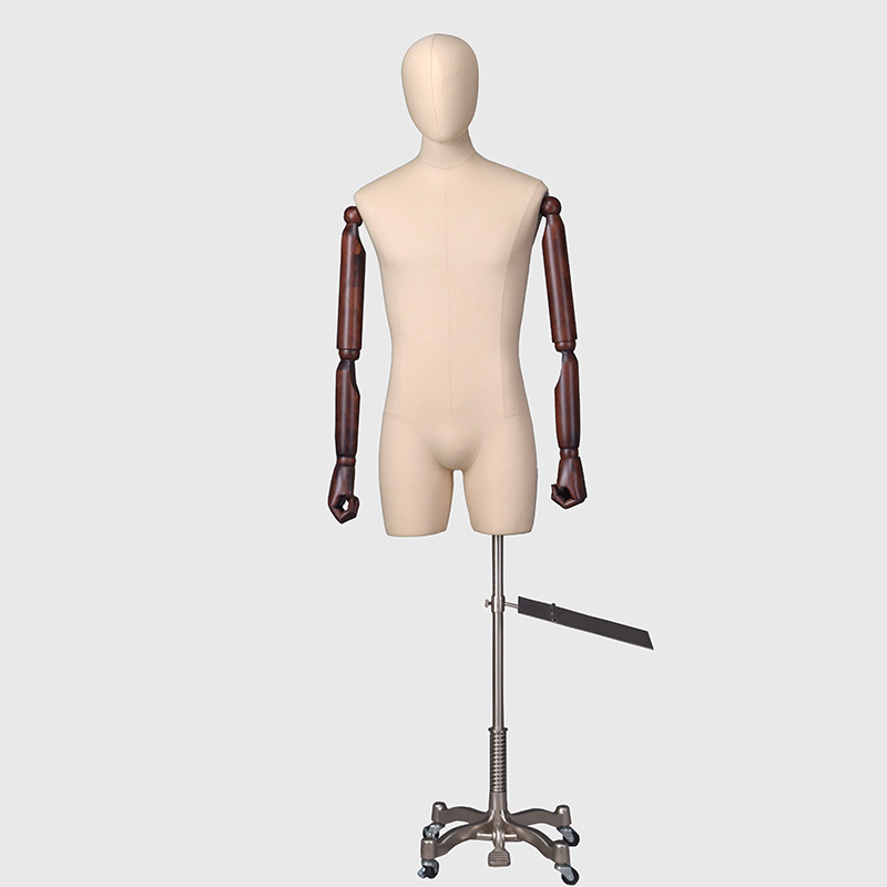 Linen half body mannequin dress form male mannequin with arm