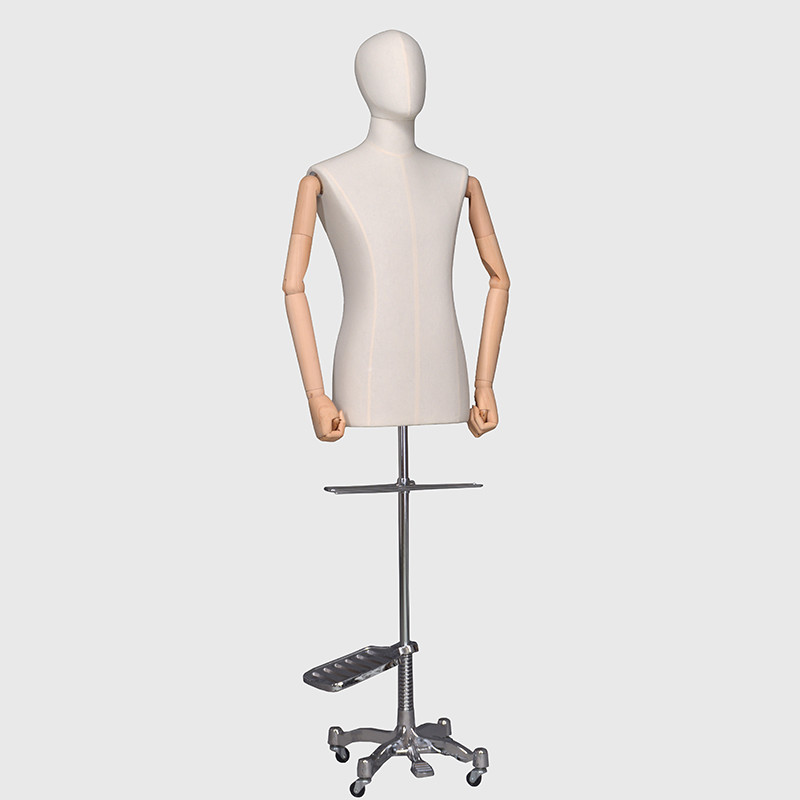 Linen dress forms male upper body mannequin with adjustable arms