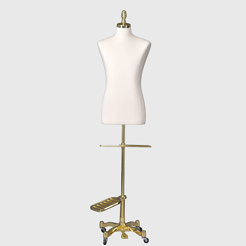 Half body linen dress form male mannequin on wheels