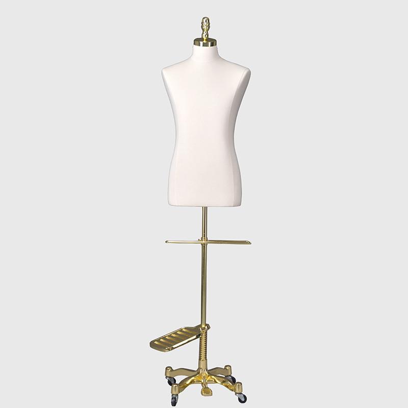 Half body linen dress form male mannequin on wheels