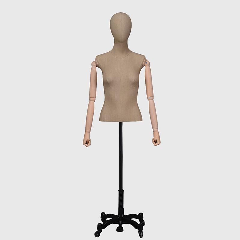 Vintage female mannequin fabric mannequin torso wooden arm