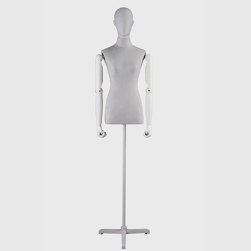High quality decorative dress form mannequin female with wooden arms