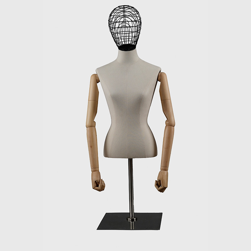 Half body dress form mannequin bust woman wood arms
