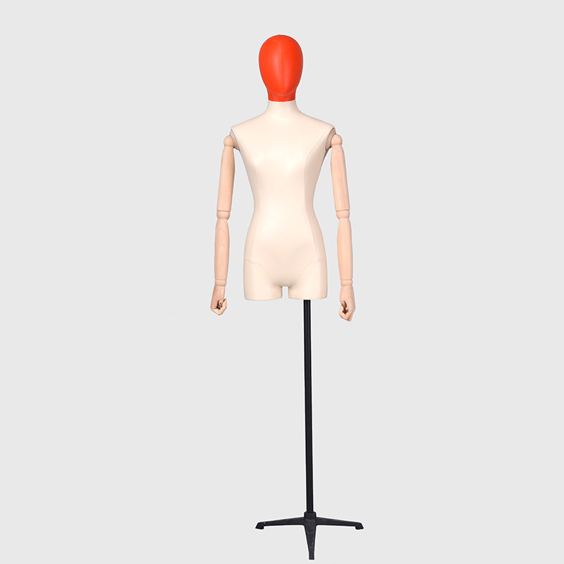 Half scale linen body forms female mannequin for fashion wood arms