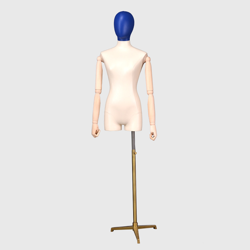 Half body dress form linen fabric mannequin with wooden arms for sale