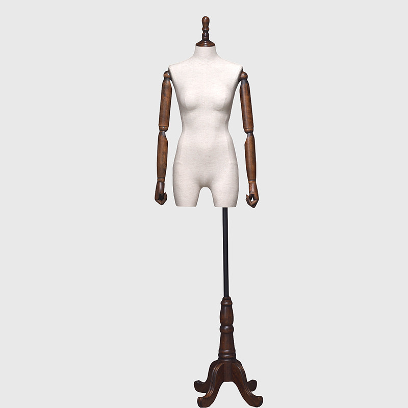 Fabric female mannequins dress form vintage mannequin with wooden arms