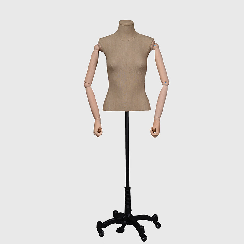 Vintage dress form dummy mannequin with wooden arms
