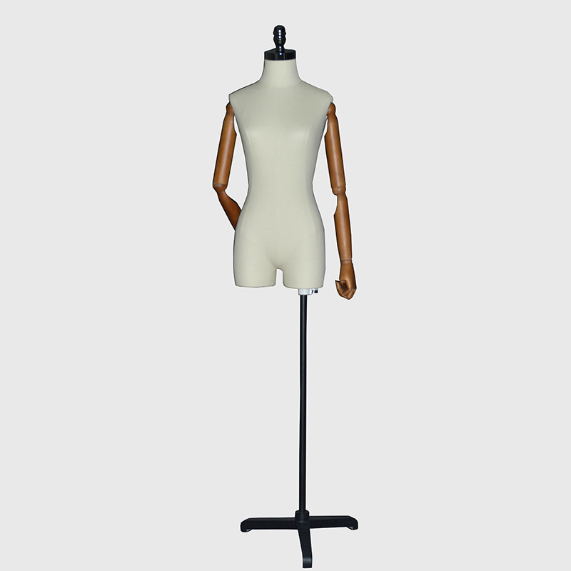 Half body linen wrapped mannequin female with wooden arms